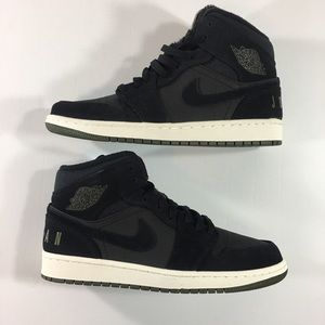 Nike Air Jordan 1 Mid Black/Olive Men's Shoes 9.5